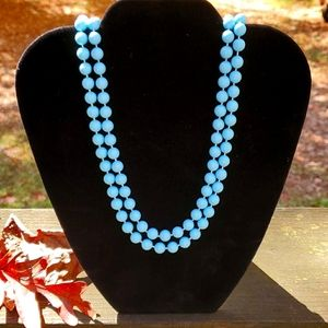 Jewelry - Necklace, Baby Blue beads, vintage, 24 inches